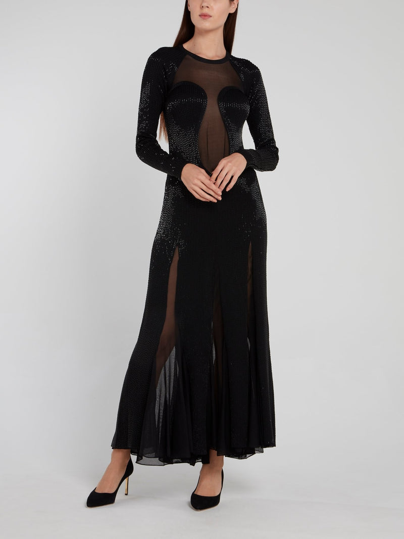 Black Beadwork Godet Maxi Dress