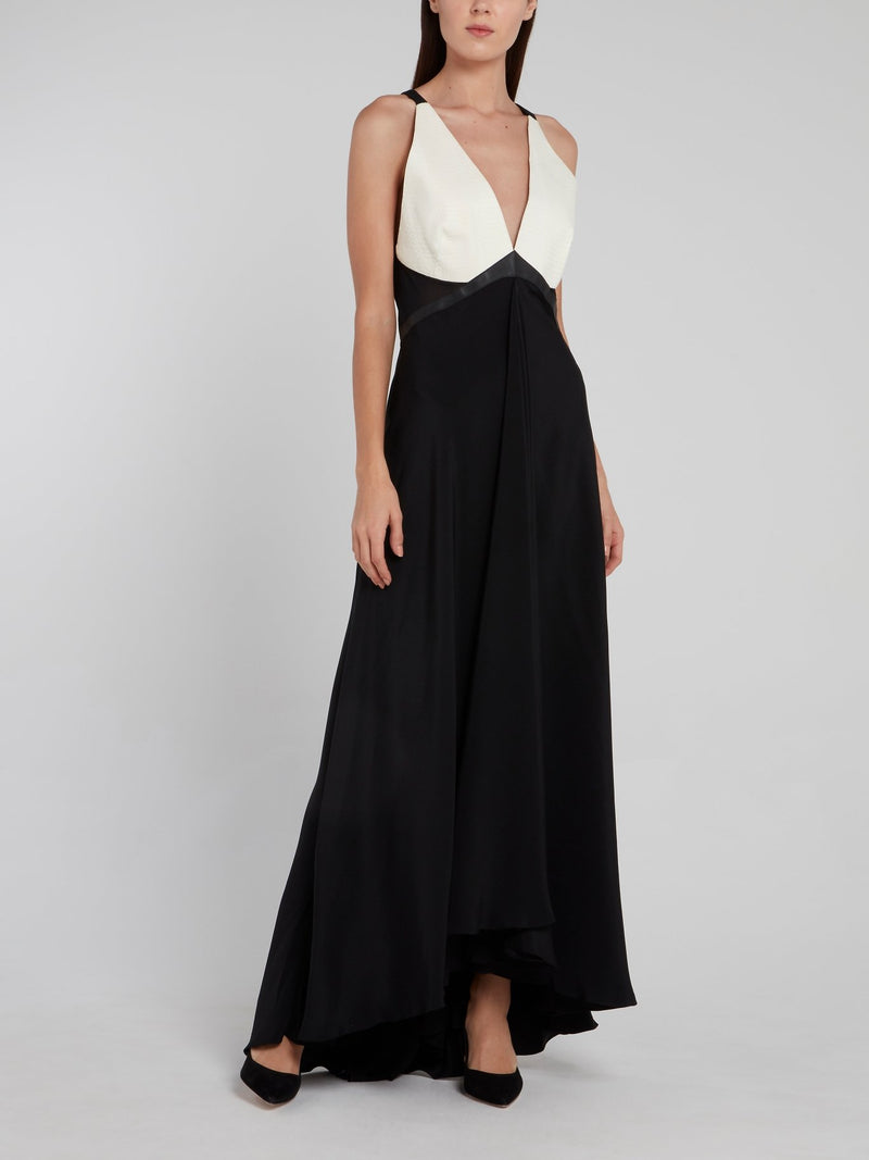 Snake Effect Draped Maxi Dress