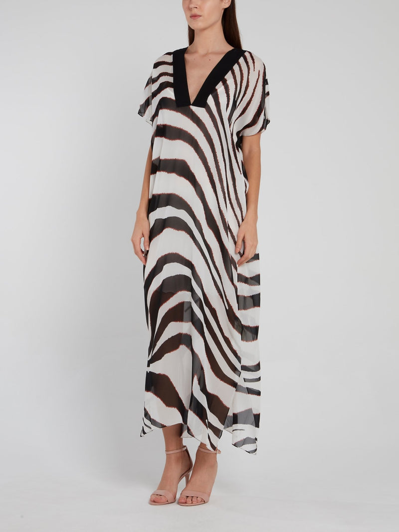 Zebra Effect V-Neck Maxi Dress