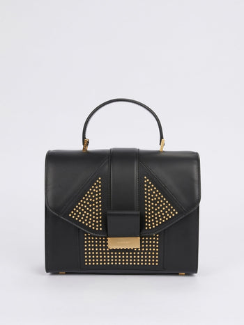 Angie Black Geometric Studded Leather Handbag
