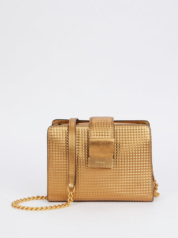 Margot Bronze Laminated Leather Shoulder Bag
