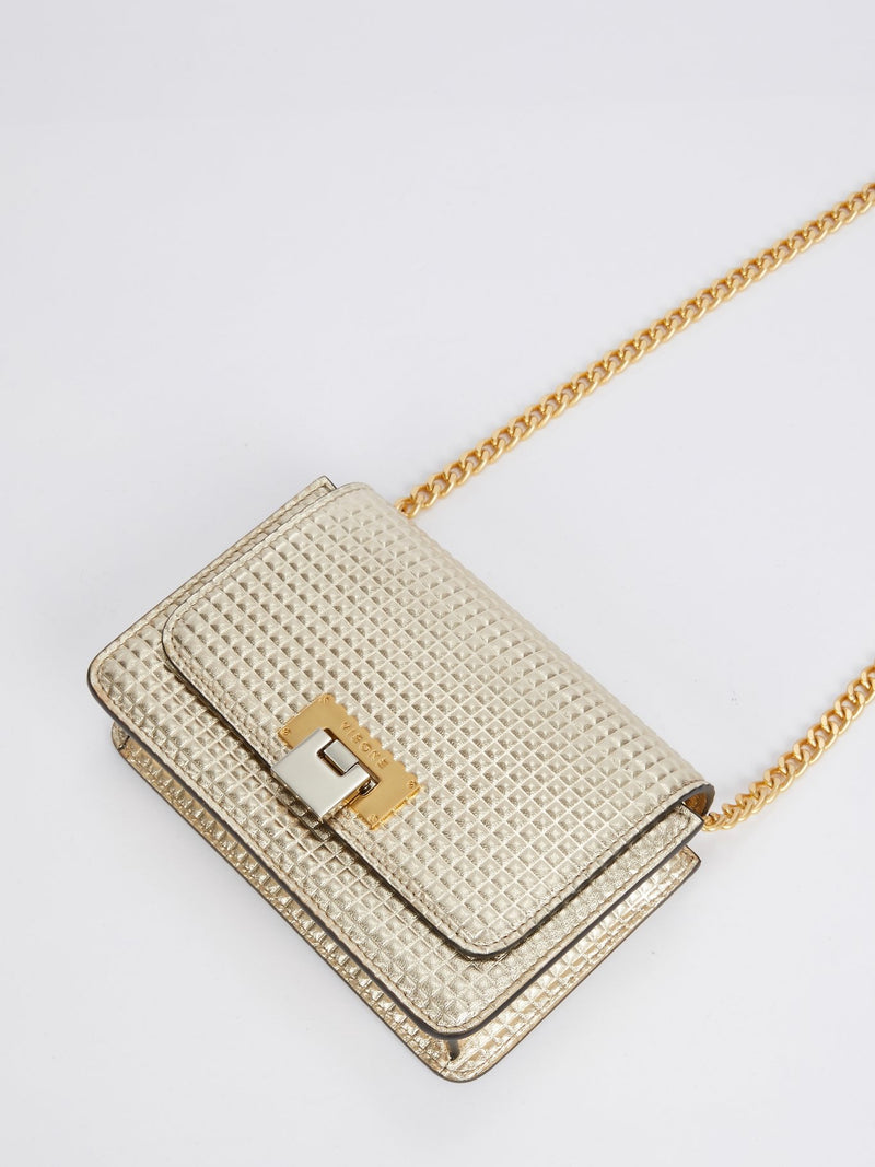 Lizzy Gold Laminated Leather Mini Bag