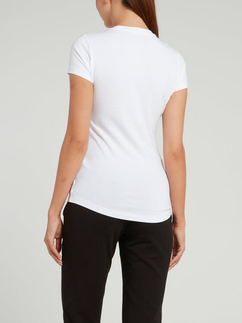 White Round Neck Logo T-shirt