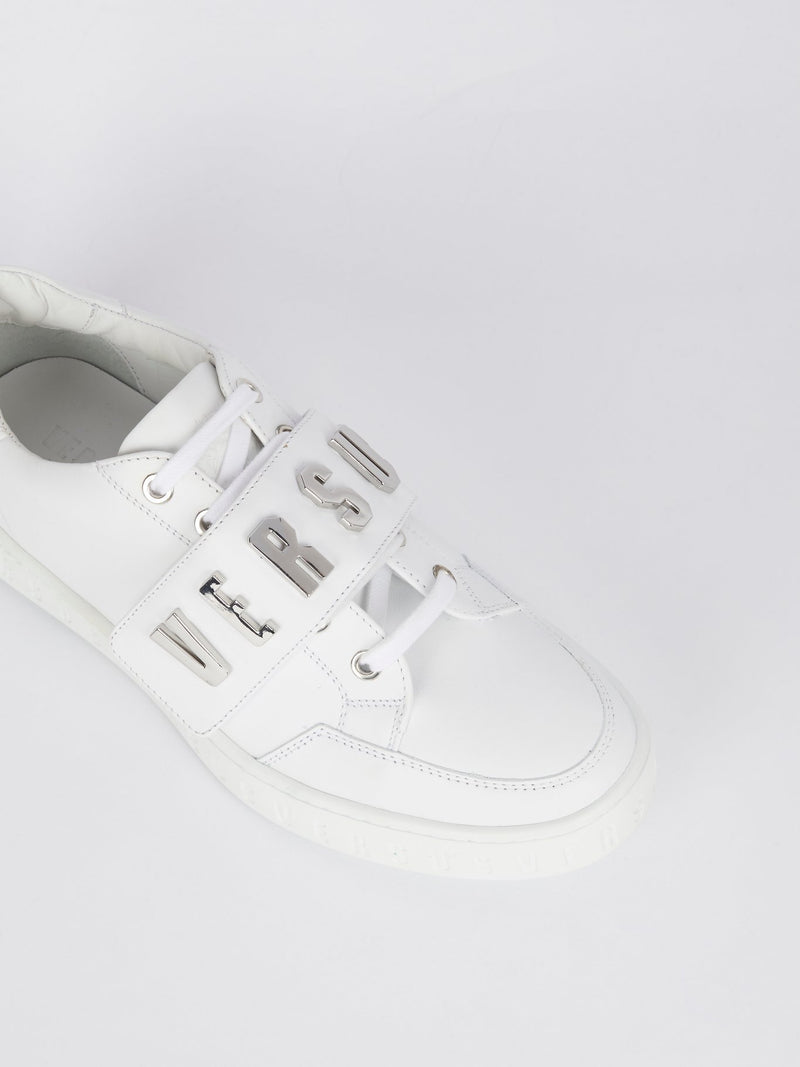 White Low Top Silver Logo Sneakers