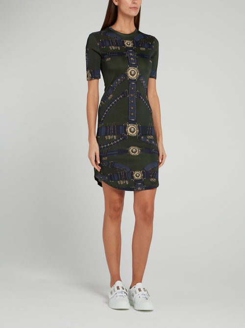 Olive Printed Jersey Dress