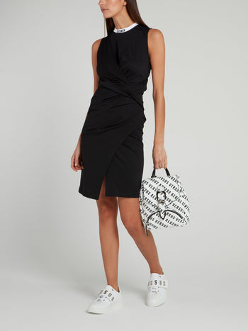 Black Wrap Jersey Dress