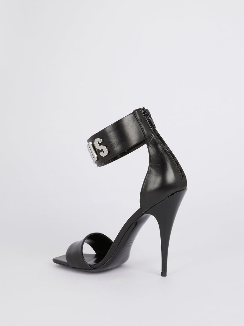 Black Logo Ankle Strap Leather Sandals