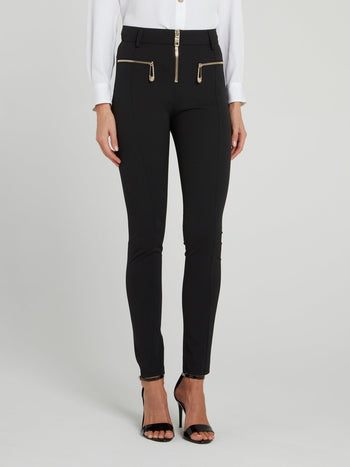Black Zip Up Trousers