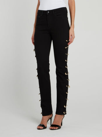 Safety Pin Denim Jeans