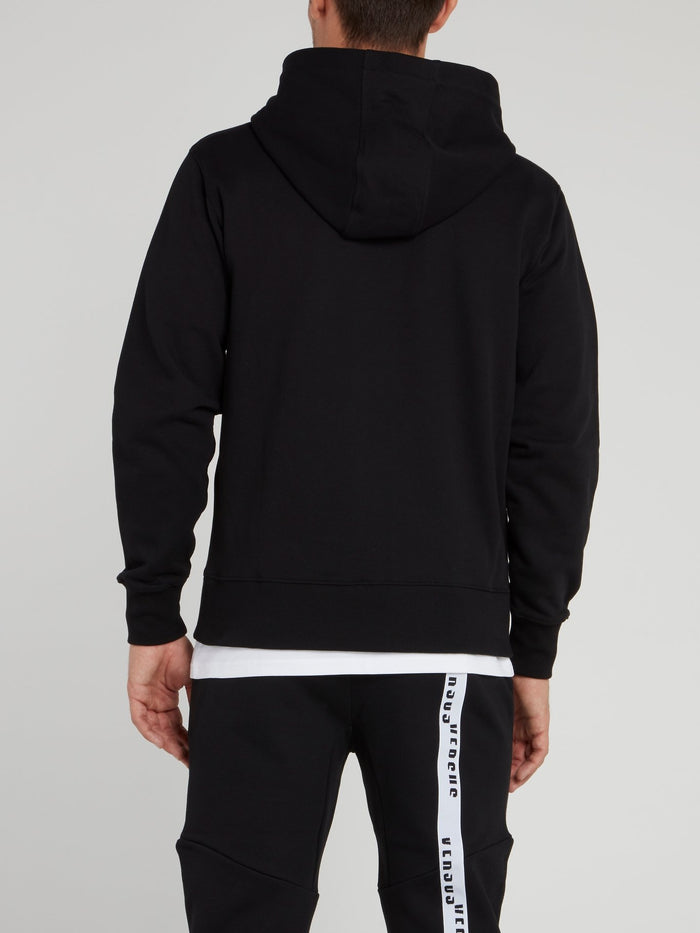 Black Hooded Cotton Sweatshirt