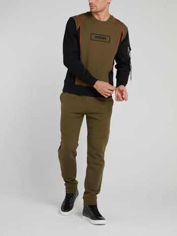 Olive Panel Logo Cotton Sweatshirt