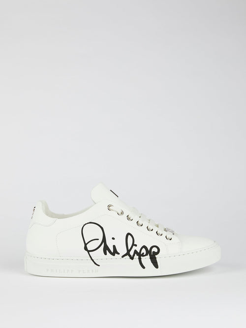 White Signature Logo Sneakers