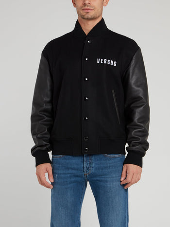 Black Leather Panel Blouson