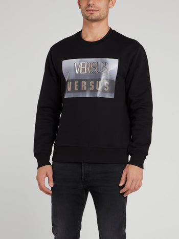 Black Logo Printed Sweatshirt