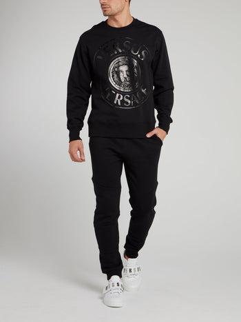 Black Logo Cotton Sweatshirt