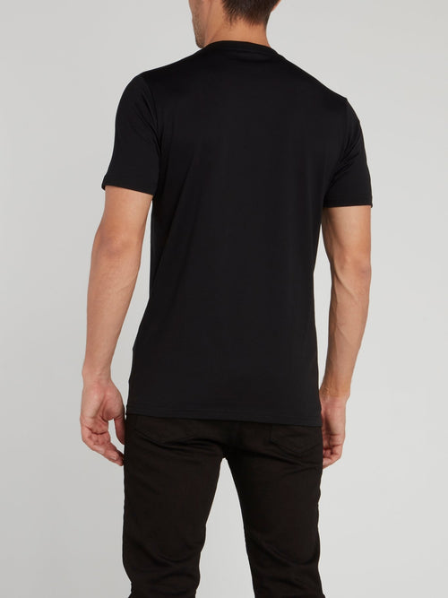 Black Abstract Print T-Shirt