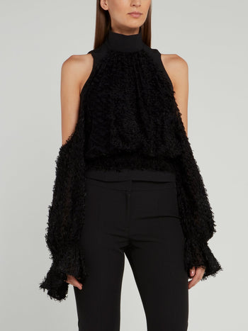 Black Cold Shoulder Fur Top