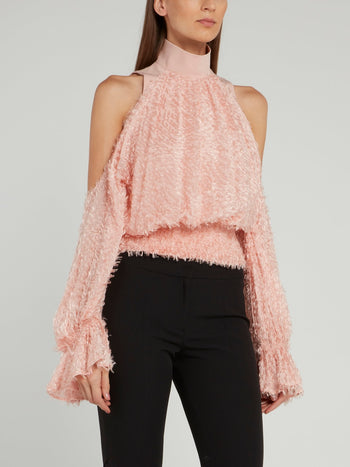 Pink Cold Shoulder Fur Top