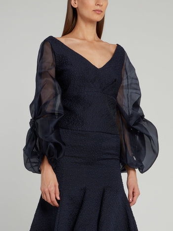 Navy Sheer Lantern Sleeve Top