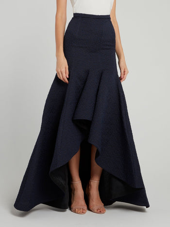 Textured High Low Maxi Skirt