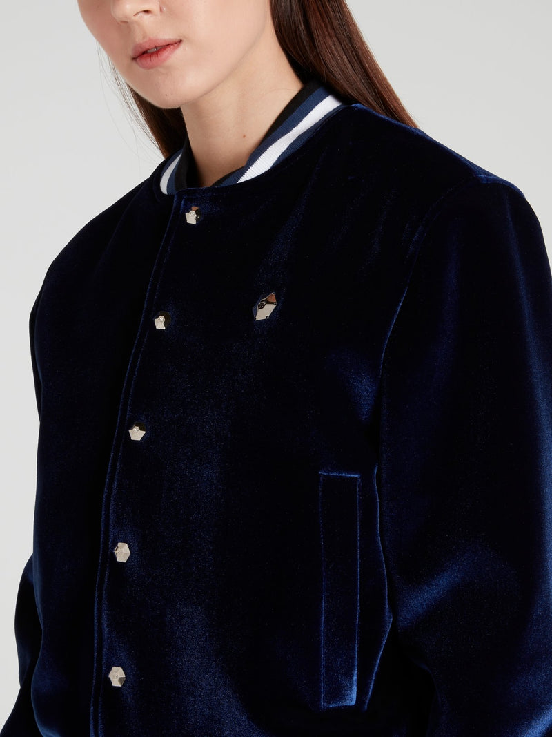 Miss Plein Diva Navy Stripe Edge Bomber Jacket