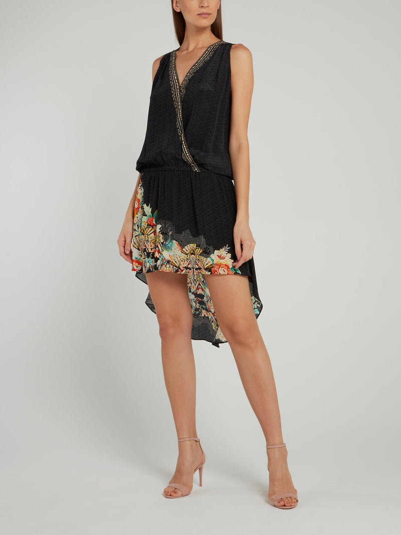 High Low Crossover Silk Dress