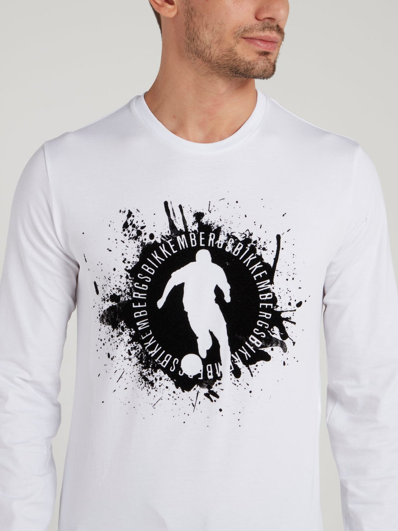 White Sport Logo Long Sleeve T-Shirt