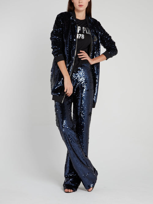 Navy Wide Leg Sequin Trousers