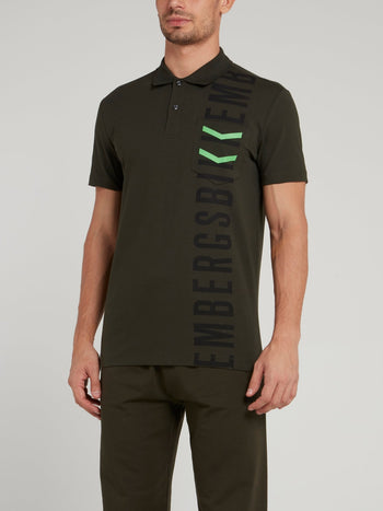 Olive Logo Chevron Polo Shirt