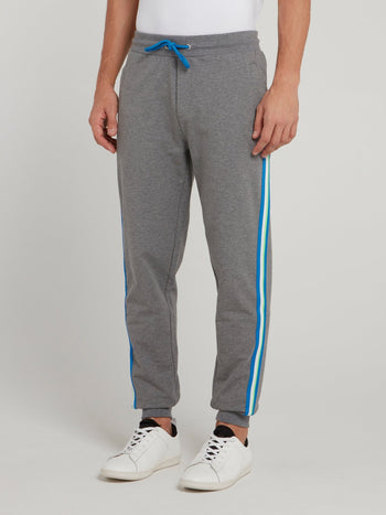 Grey Side Stripe Fleece Pants