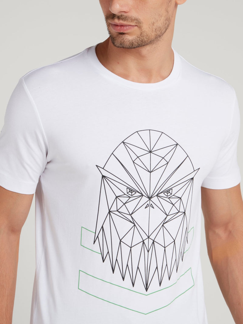 White Geometric Eagle Print T-Shirt