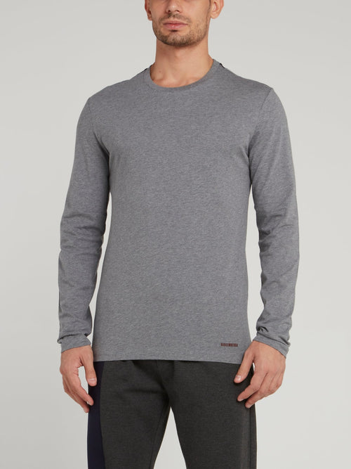 Grey Rear Stripe Long Sleeve T-Shirt