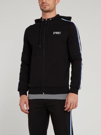 Black Sport Logo Hooded Jacket