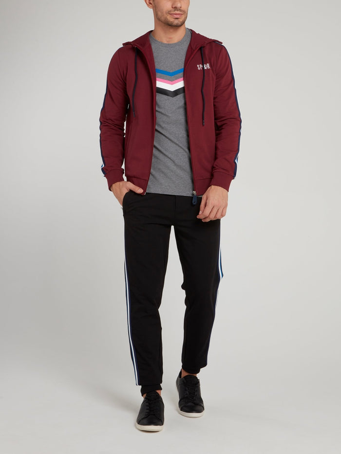 Burgundy Sport Logo Hooded Jacket