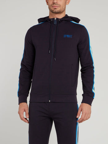 Navy Sport Logo Hooded Jacket