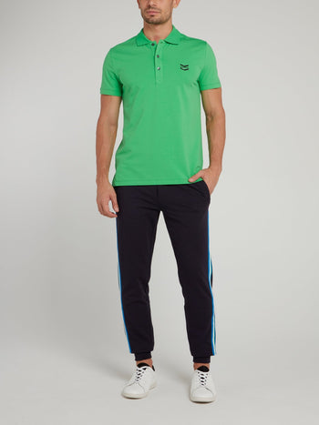 Green Logo Chevron Knitted Polo Shirt