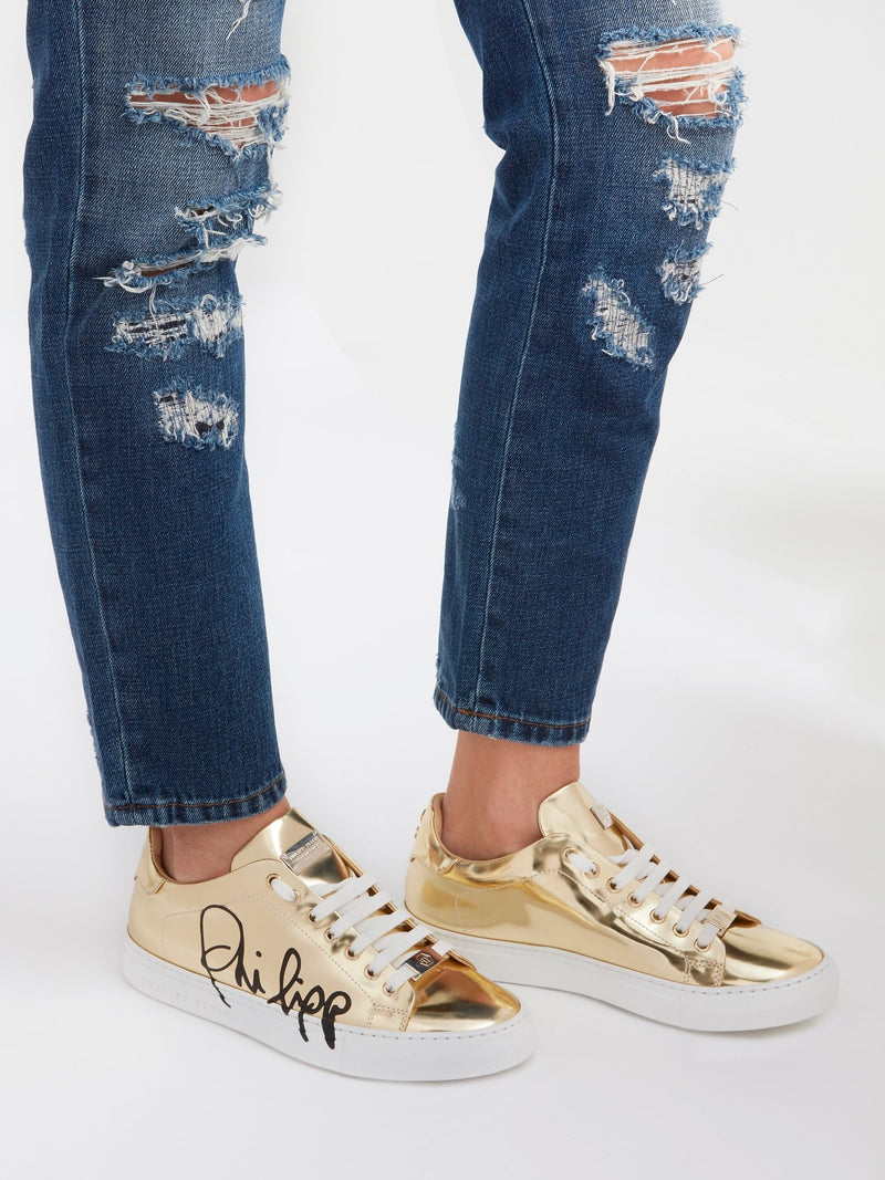 Signature Gold Leather Sneakers