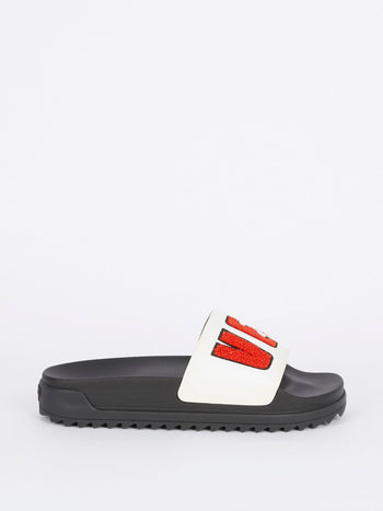 Ciabattina Logo Leather Slides