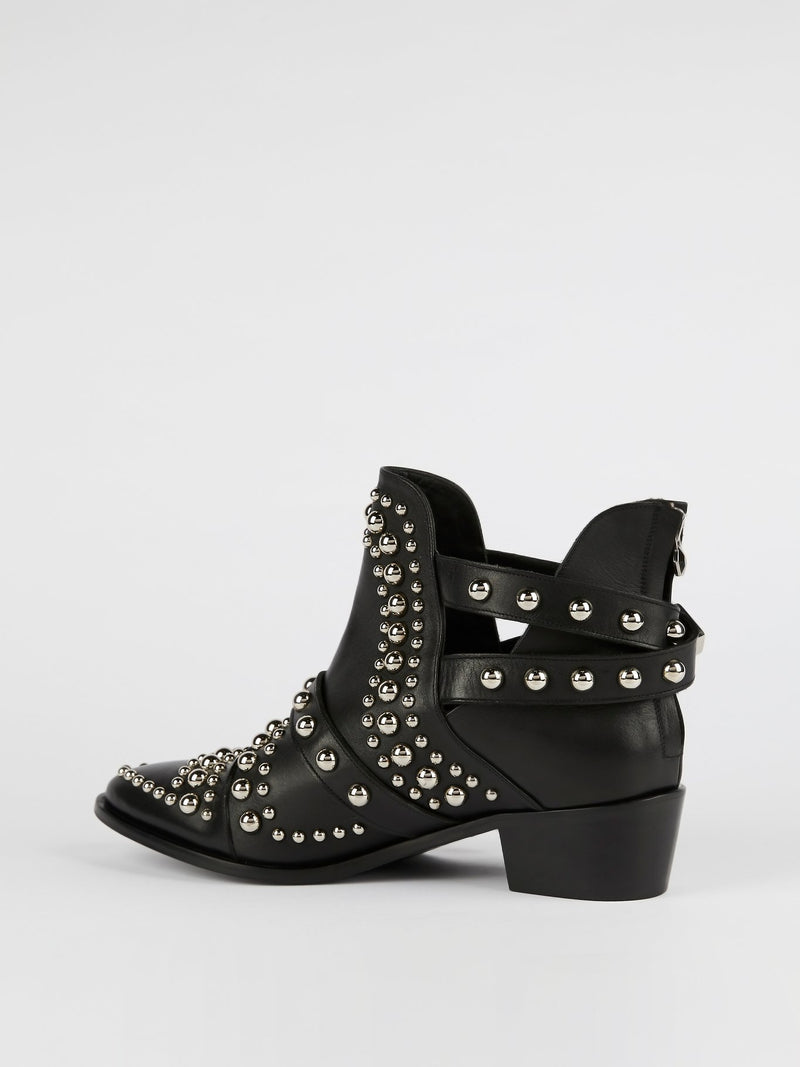 Black Studded Leather Biker Boots