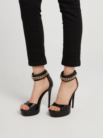 Chain Ankle Strap High Heel Sandals