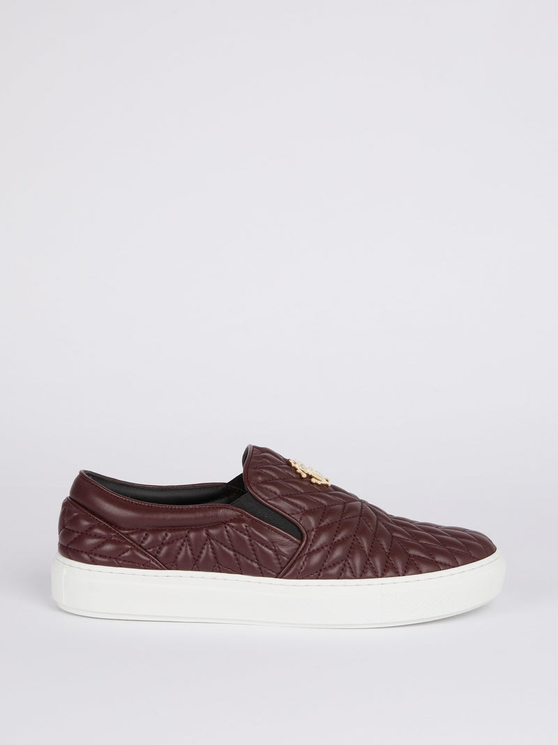 Burgundy Quilted Slip On Sneakers