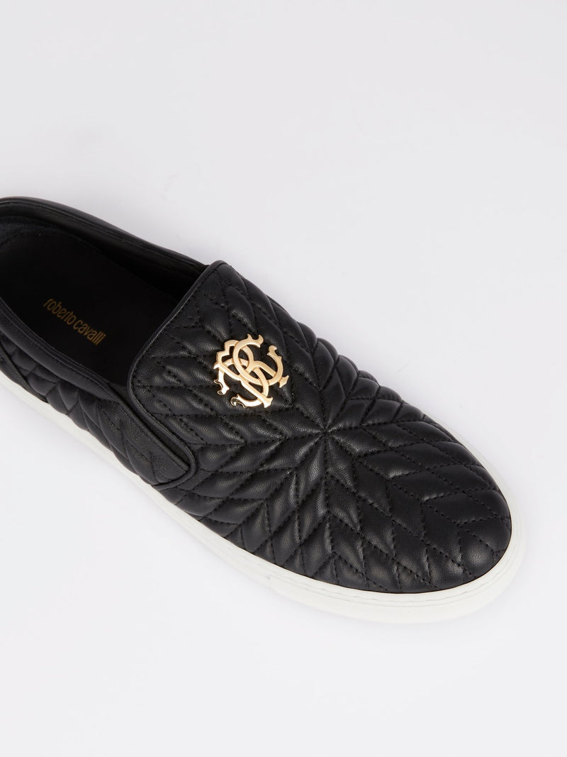 Black Quilted Slip On Sneakers