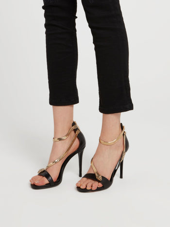Black Snake Strap Leather Sandals