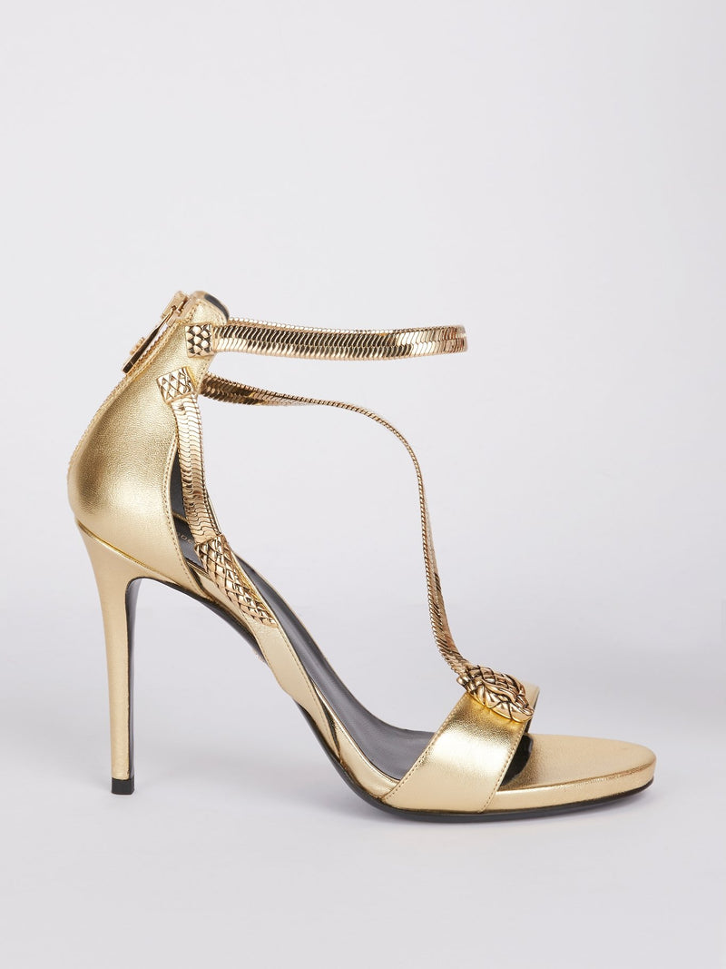 Gold Snake Strap Leather Sandals