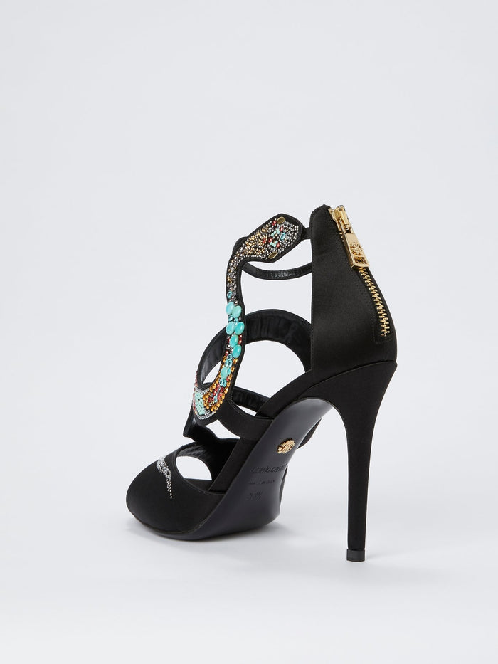 Black Snake Cage Pumps
