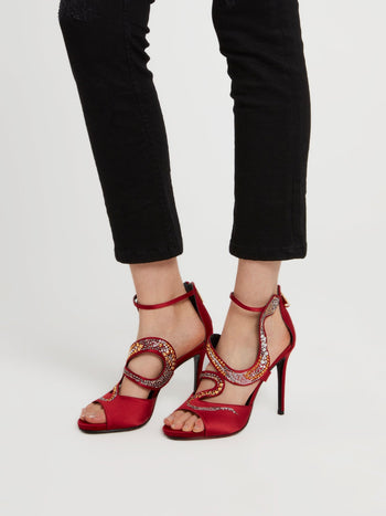 Red Snake Cage Pumps