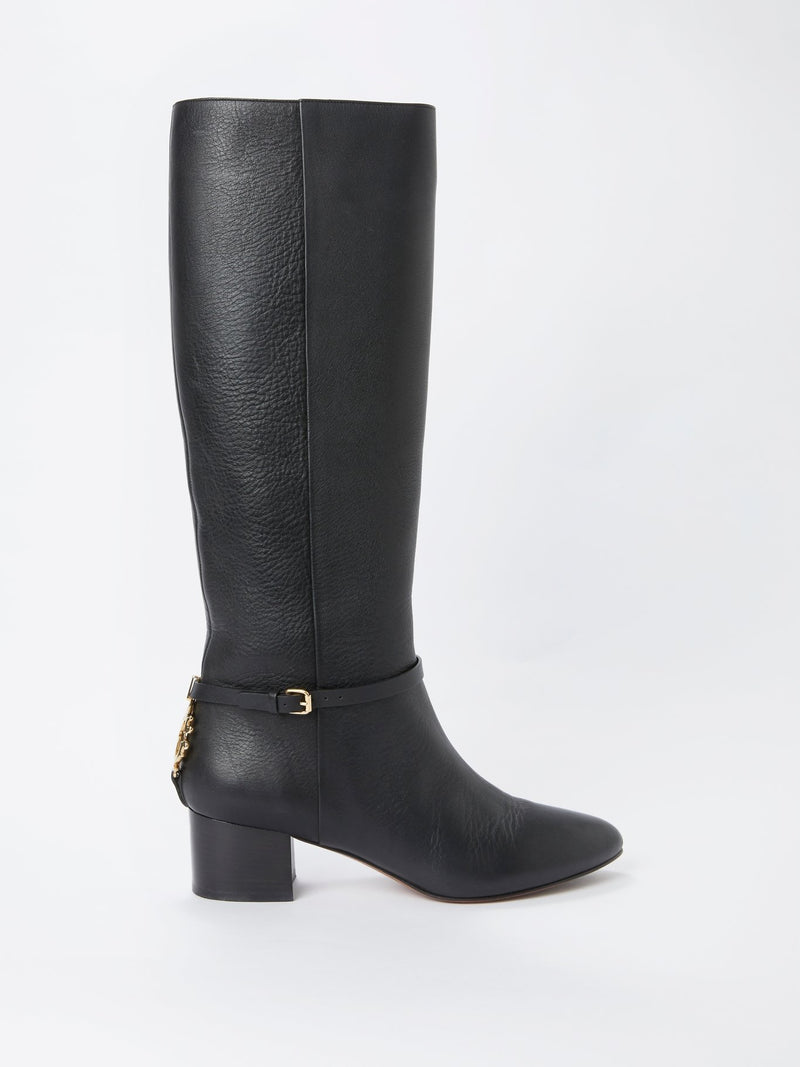 Black Rear Logo Knee High Boots