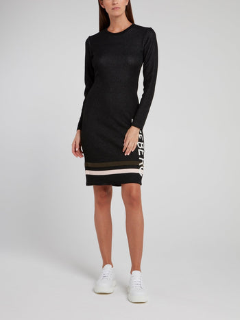 Black Viscose Sweater Dress