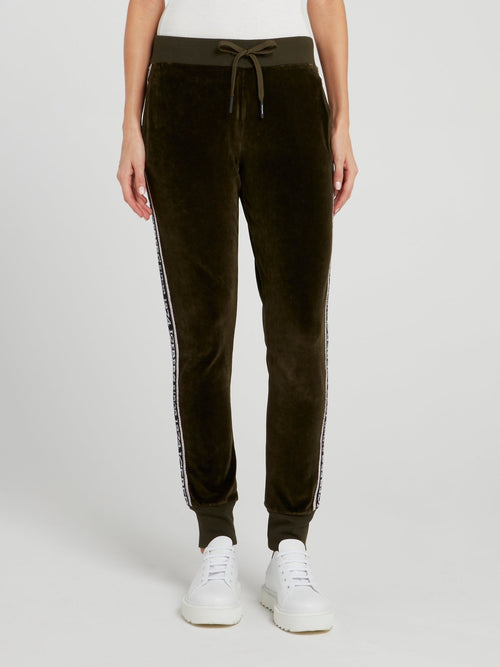 Olive Logo Tape Velvet Trousers