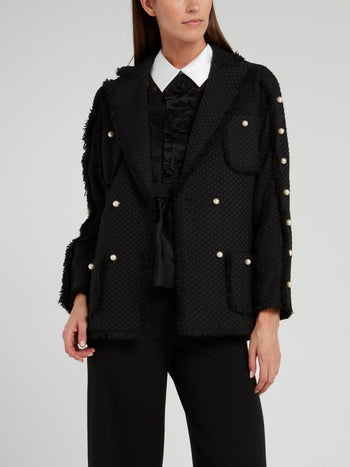 Black Pearl Embellished Frayed Blazer